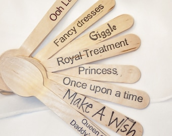 PRINCESS PerFeCt StoryBooK and FaiRyTales  Wood Spoons 18 HAND STAMPED Words Custom Favors , Ice Cream Spoons, Eco Friendly