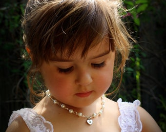 Flower Girl Necklace-Flower Girl Gift-Flower Girl Jewelry-Miniature Bride-Heart Necklace-Pearl Necklace-Child Jewelry-Dream Day Designs