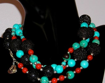Turquoise Howlite Statement Necklace, Chunky, Colorful - Lava Rock, Red Onyx
