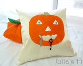 Halloween Pillow Cover Primitive Pumpkin Jack-o-Lantern Orange Ivory Silk Cover