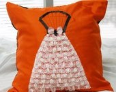 Lace Dress Pillow Cover, Ruffle Skirt, Orange and Black, Bride Gift