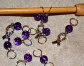 Hope Ribbon Charm Purple Glass bead handmade stitch markers for knitting (Qty 12)
