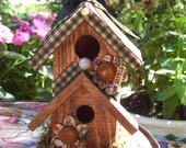 WOODEN BIRDHOUSE Hand Decorated OOAK Decorated Buttons and Green and White Gingham Ribbons