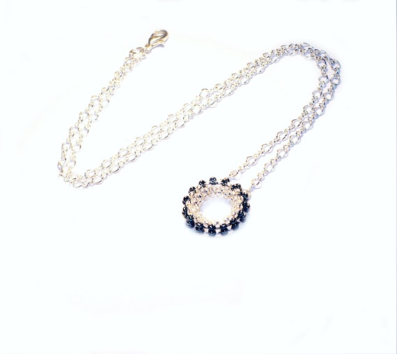 Simple eternity circle necklace Charm ring silver necklace Simple everyday jewelry Silver black charm ring necklace