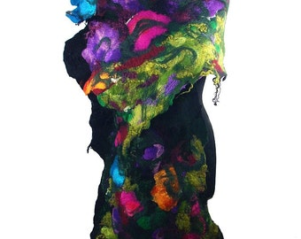Black scarf Felted Scarf Nunofelt Scarf Multicolor Scarf Felt Wrap Scarves black noir Nuno felt Silk Eco shawl Fiber Art