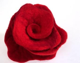 Felted Brooch Nunofelt red Rose nuno nunofelt silk flower folk boho fairy