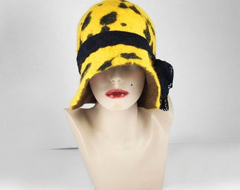 Felted Hat Cloche Hat Flapper hat Designer Hat wearable art art deco wool felt nunofelt nuno felt silk eco fiber art