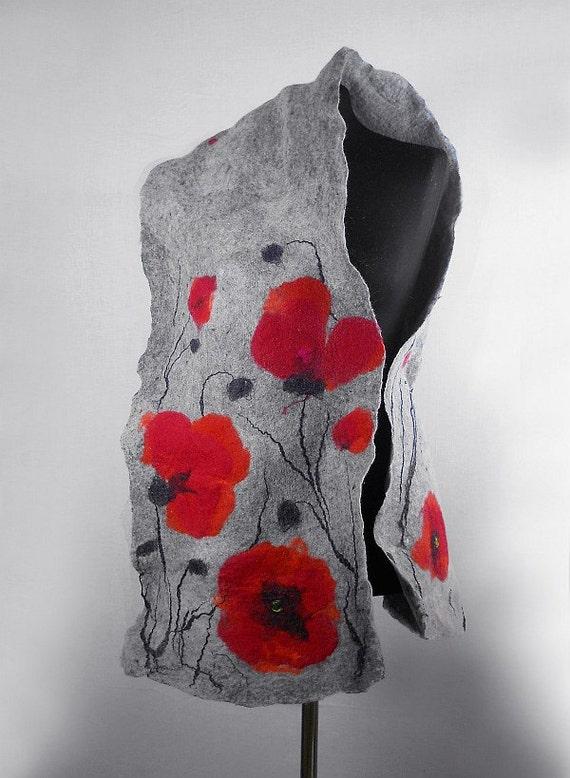 Felted Scarf Poppy scarf Red Poppies  Art Wrap Artistic Shawl Nuno felt Scarves Felt grey gray Nuno felt wearable art Silk  Fiber Art
