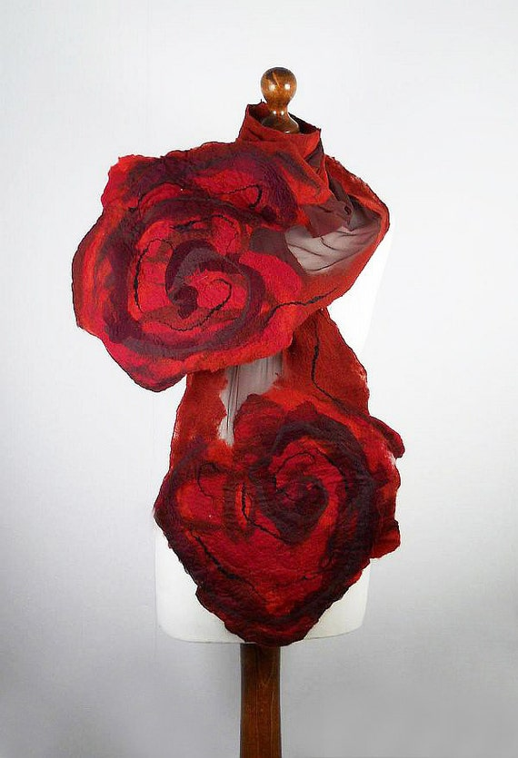 Red Scarf Felted Scarf Rose Scarf Fashion Wrap ART DECO Scarves Light Felt Nunofelt Nuno felt Silk wearable art Eco Boho Fiber Art