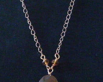 Tiger Eye Copper Wire Wrapped Necklace