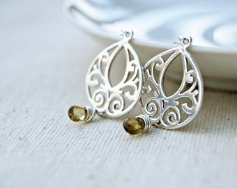 verily... silver sapphire earrings / whiskey yellow tundra sapphire & sterling silver drop earrings / september birthday