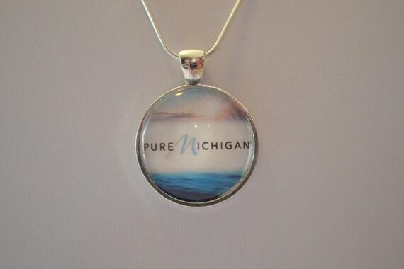 Michigan - Pure Michigan  - Round Glass Tile Pendant