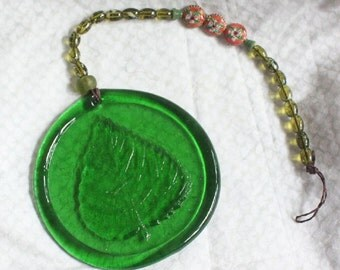 Green Leaf SunCatcher II - Pressed Glass Sun Catcher - Cloisonne Beads