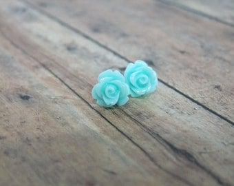 Sky blue rose earrings light teal flower small little ...