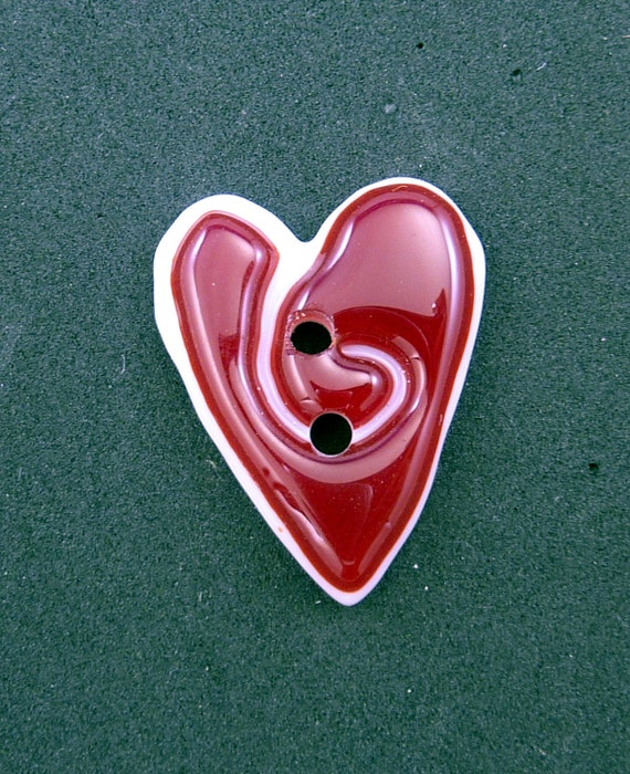ONE Fused Glass Heart Button.  Red and White Heart Handmade Button. Focal Button.