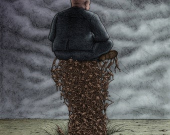 Lowbrow Pop Surrealism giclee print by Pete Gorski titled: The 1% courtesy of the 99 percent