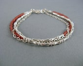 Beaded Bracelet, Silver Chain Bracelet with Silver Beads and Pomegranate Seed Beads, Layered Bracelet
