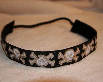 Black Skull & Crossbones Headband - Womens Sports Headband