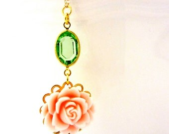 Pink Flower Necklace, Gold Drop Necklace, Pale Pink & Peridot Green Gold Necklace, Gold-Filled Chain, Vintage Swarovski