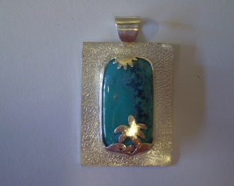 Handmade, chrysocolla, Great Barrier Reef, sterling silver pendant