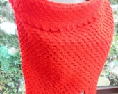Large red hand crochered chunky shawl or wrap