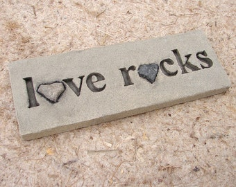 Love Rocks Plaque with Natural Found Heart Shaped Rocks - Word Wall Stones Art Sign Valentines Day