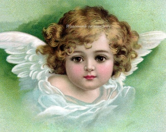 Angel Fabric Block Cherub with Wings Green Pink or Blue | Repro Clapsaddle