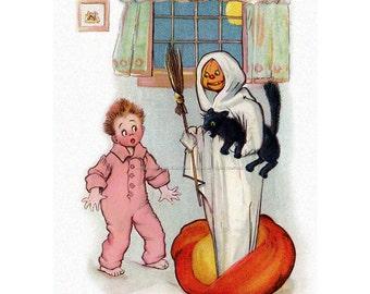 Halloween Ghost Fabric - Jack O Lantern Ghost w Broom Scares Boy