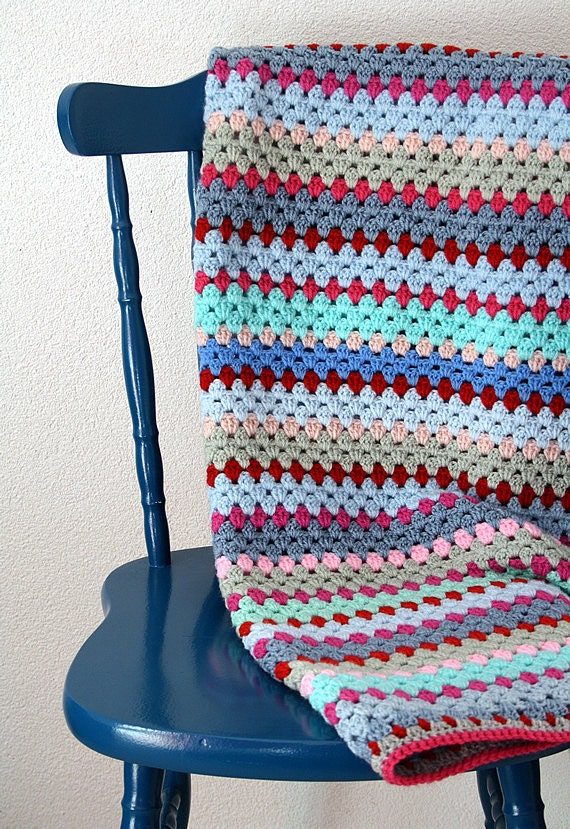 Crochet blanket: striped blanket, blue, pink, red, grey green