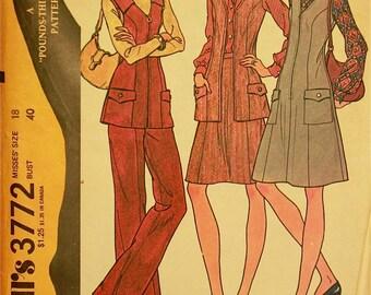 """Jumper, Vest, Skirt & Pants - 1970's - McCall's Pattern 3772  Uncut  Size 18   Bust 40"""""""