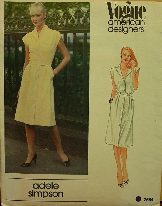 "Dress by Adele Simpson - 1970's - Vogue American Designer Pattern 2684 Uncut   Size  16  Bust  38"""