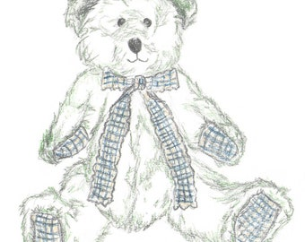 "Nursery Art, Teddy Drawing, Teddy Sketch, Kids Art, Hand Drawn Illustration, A4 8x10"", Green and Blue, Tartan, Pencil Sketch, Pencil Drawing"
