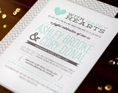 "Wedding Invitation SET -- Chevron ""Modern Love Story"" -- 50 Invites, RSVP Postcards and Bellybands"