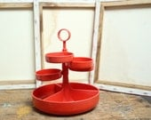 RESREVED FOR CHERYL Vintage 1970s Red Plastic Dialene Better-Maid Storage/Snack 5 Tiered Tray