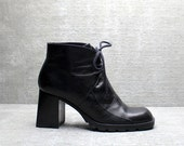 Vtg 90s Black Leather Chunk Heel Lace Up Chukka Ankle Boots 7 1/2 7.5