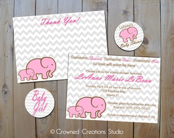 Elephant Baby Shower Invitation Party Package - Printable Kit - Invitation, Thank You, & Cupcake Toppers