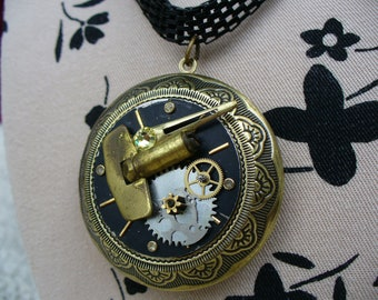 Lovely Antiqued Brass Locket & Steampunk Facets