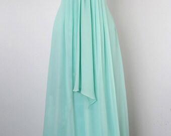 Mint Halter Bridesmaid Dress, Column Halter Floor-length Chiffon Prom Dress 2014