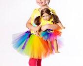 Rainbow - Adjustable Doll & Me Tutu SET