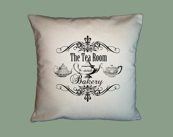 Tea Room  Typograpny  Handmade 16x16 Pillow Cover - Choice of Fabric - ANY COLOR IMAGE
