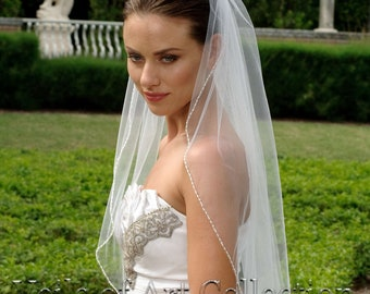 Designer One Tier Embroided Bridal Wedding Veil Fingertip Style VE315 NEW CUSTOM VEIL