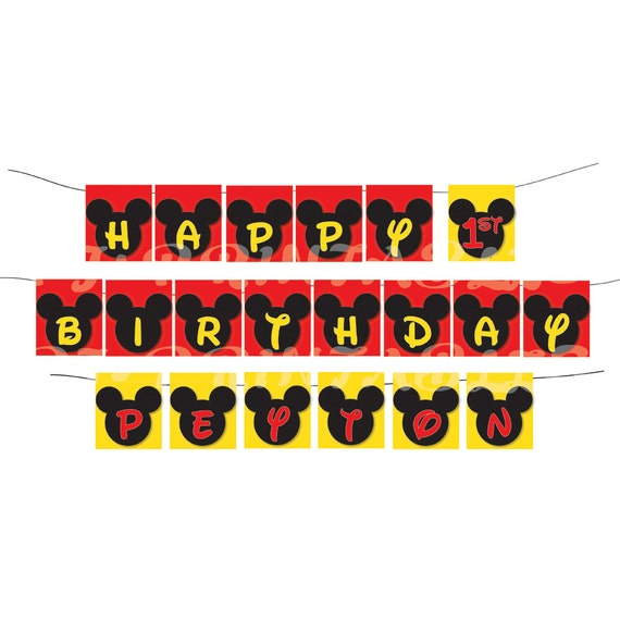 Happy Birthday Mickey Mouse themed Banner with name - Custom Digital File
