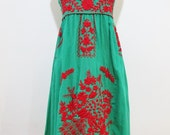 Embroidered Mexican Sundress Cotton Strapless in Green With Lining, Boho Dress, Maternity Dress