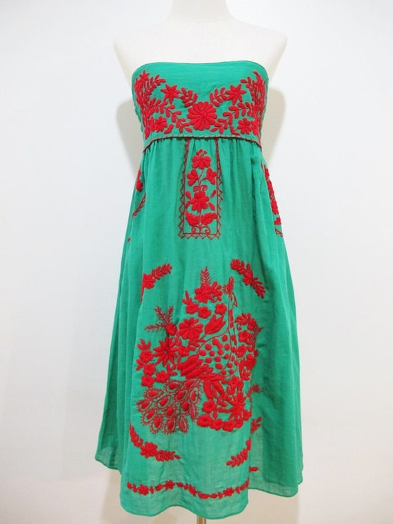 Embroidered Mexican Sundress Cotton Strapless in Green With Lining, Boho Dress, Peasant Dress