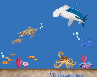 Sea Wall Decal - Childrens Fabric  Wall Decal - REUSABLE  Wall Decals