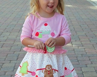 Girls Christmas skirt pdf pattern, Christmas cookie applique dress, candy cane skirt, ruffle circle skirt, VISIONS OF SUGARPLUMS
