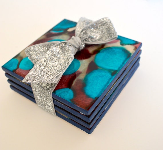 Alcohol Ink Dyed Coasters