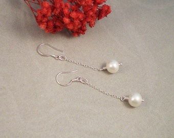 AAA Freshwater Pearl Earrings, Size Choice Drop Pearl Earring, Pearl Color ChoiceBridesmaid Gift