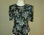 1980s Laurence Kazar Black and Blue Sequin Short Sleeve Beaded Vintage Top