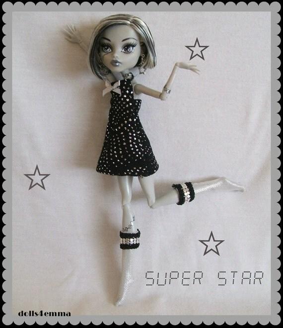 Dress - Socks - Earrings - Handmade for Monster High Doll Custom Fashion by DOLLS4EMMA